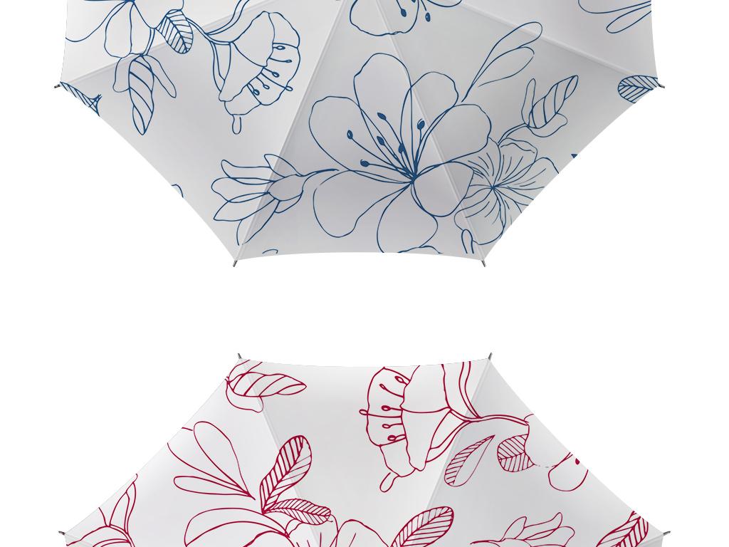 手绘花朵雨伞图案设计