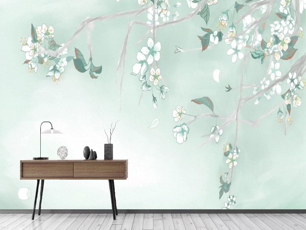 背景墙|装饰画 电视背景墙 手绘电视背景墙 > 北欧抽象水彩梨花客厅