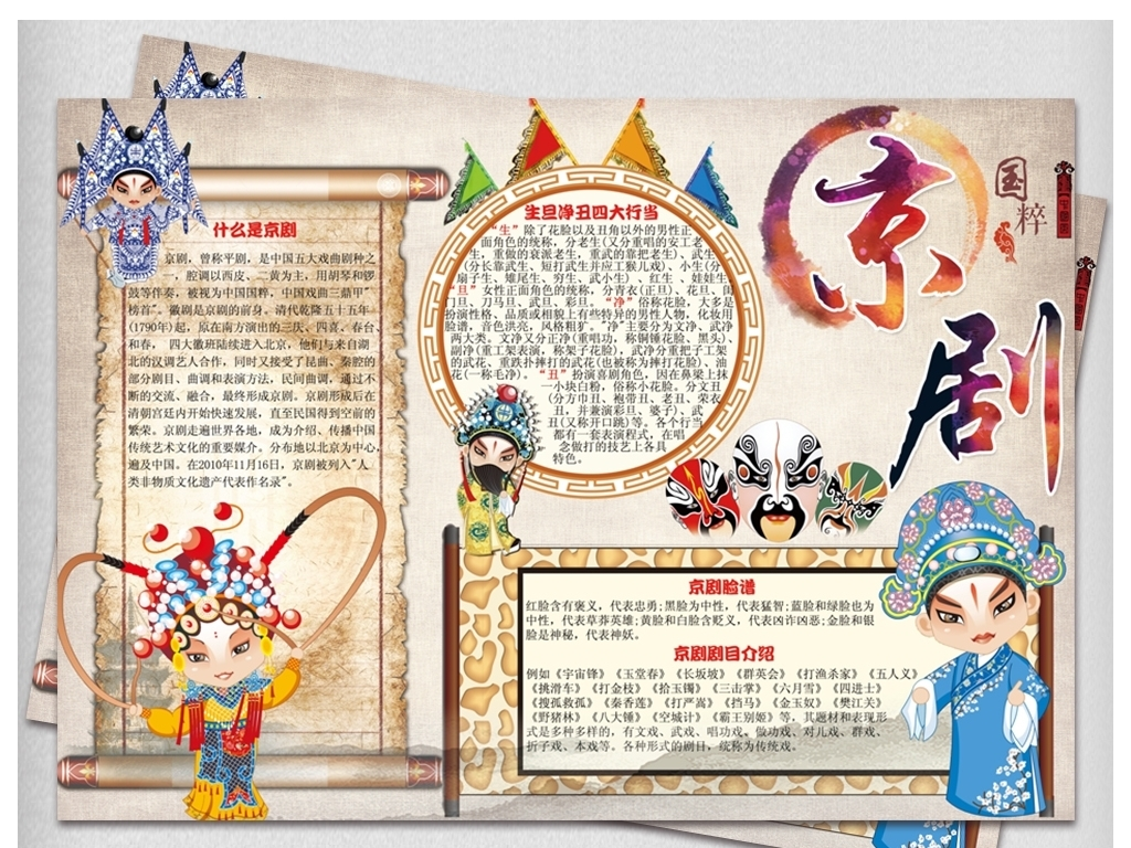 手抄报|小报 学科手抄报 艺术手抄报 > 京剧小报戏曲艺术文化国粹手抄