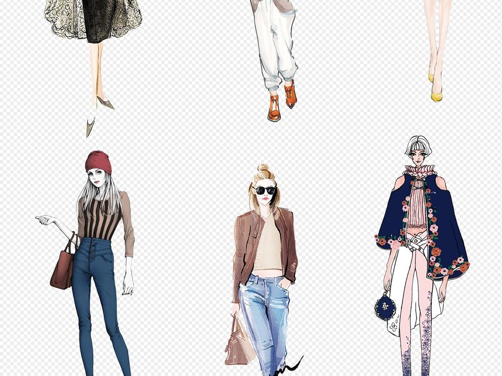 卡通手绘美女模特服装设计免扣元素图片素材_模板下载