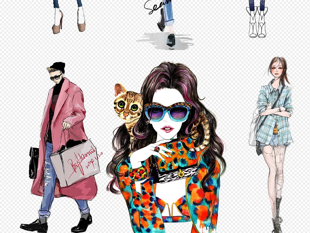 卡通手绘美女模特服装设计免扣设计元素