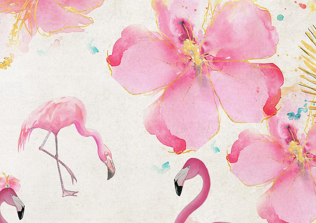北欧简约手绘花卉火烈鸟背景墙