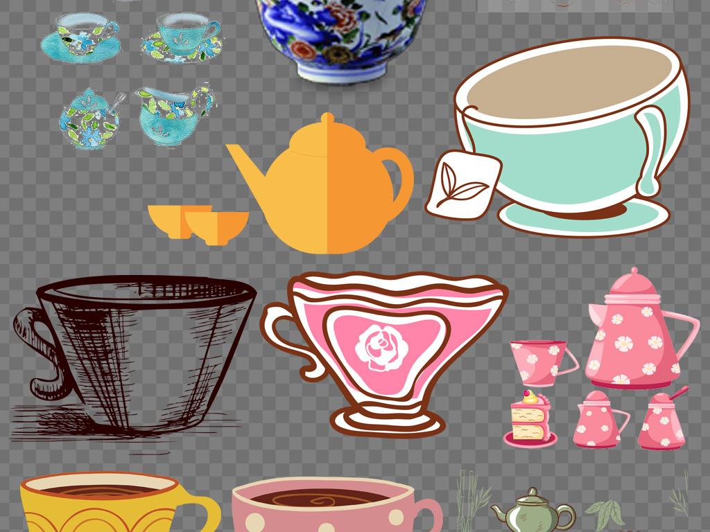 卡通茶具杯子免抠png素材