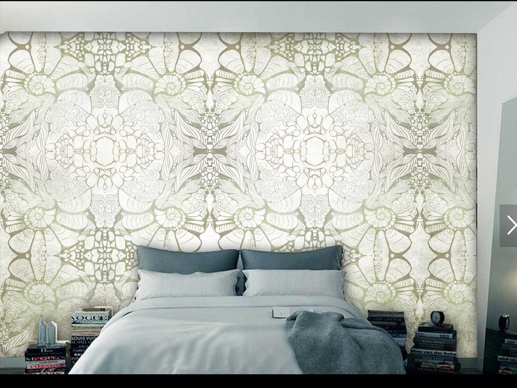 原创个性手绘简约复古花纹墙纸图片设计素材_高清模板