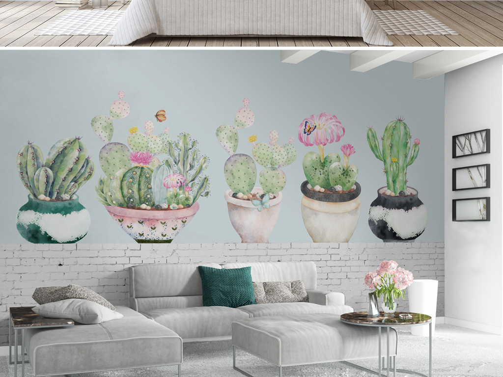 北欧风格手绘仙人掌多肉植物盆栽背景墙壁纸