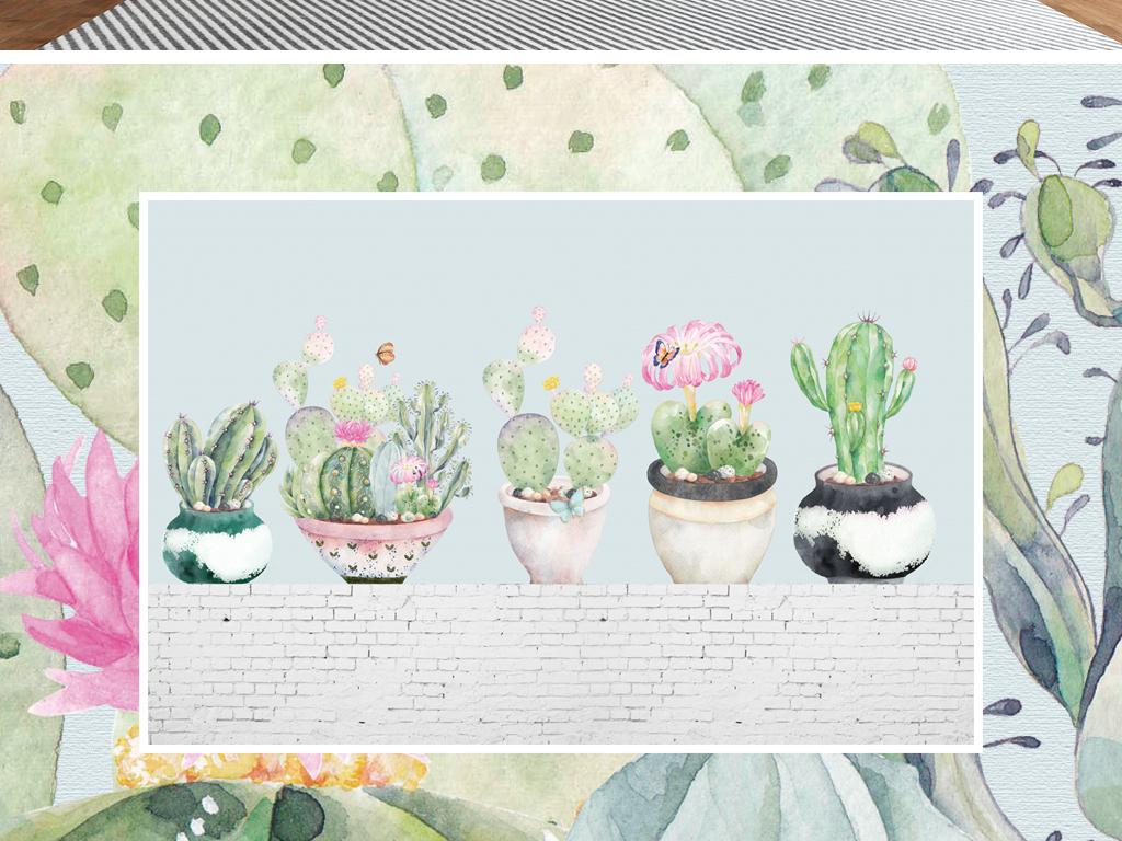 北欧风格手绘仙人掌多肉植物盆栽背景墙壁纸图片