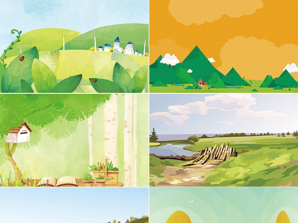 免扣元素 花纹边框 卡通手绘边框 > 20张扁平化卡通城市学校风景池塘