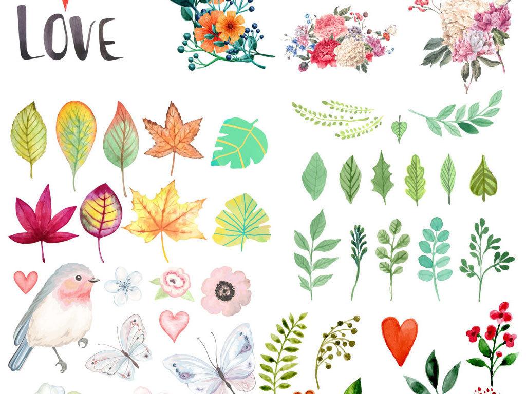 森系水彩手绘插画花鸟花卉花草叶子画芯背景