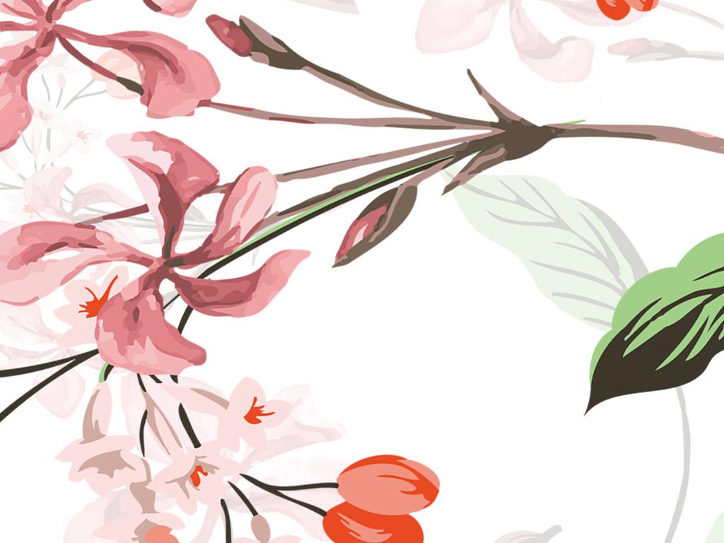 简单墙贴画-植物碎花田园墙贴纸