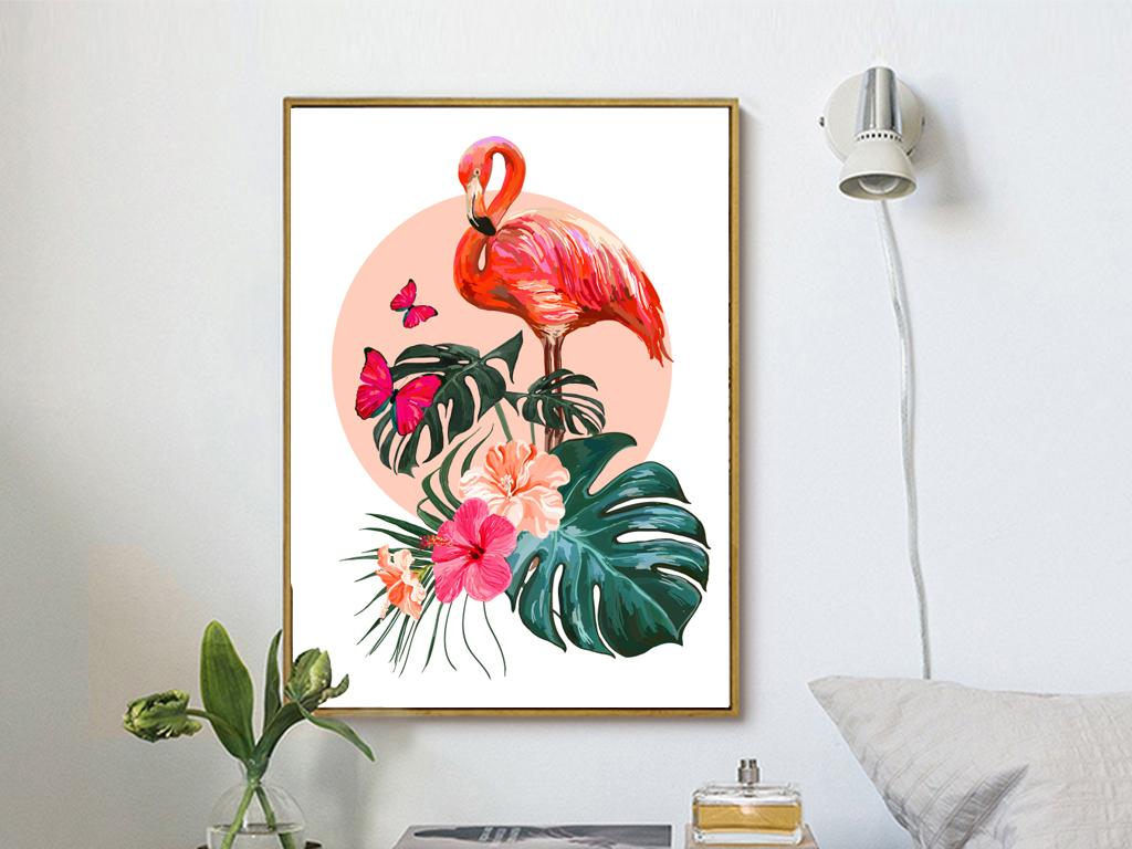 北欧手绘水彩芭蕉叶火烈鸟装饰画无框画