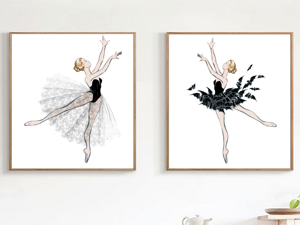 现代抽象手绘美女舞蹈芭蕾舞装饰画无框画