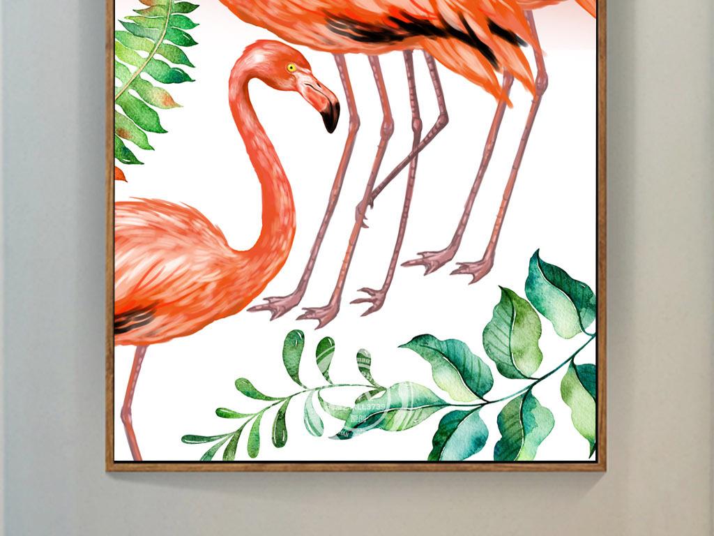 北欧手绘红色火烈鸟玄关装饰画