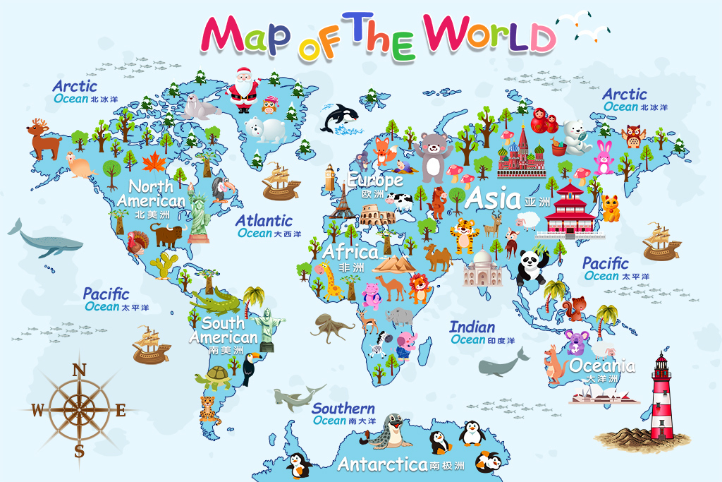 卡通世界地图背景墙
