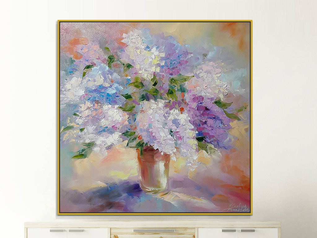 紫色粉色静物花瓶花卉花朵绘画装饰画
