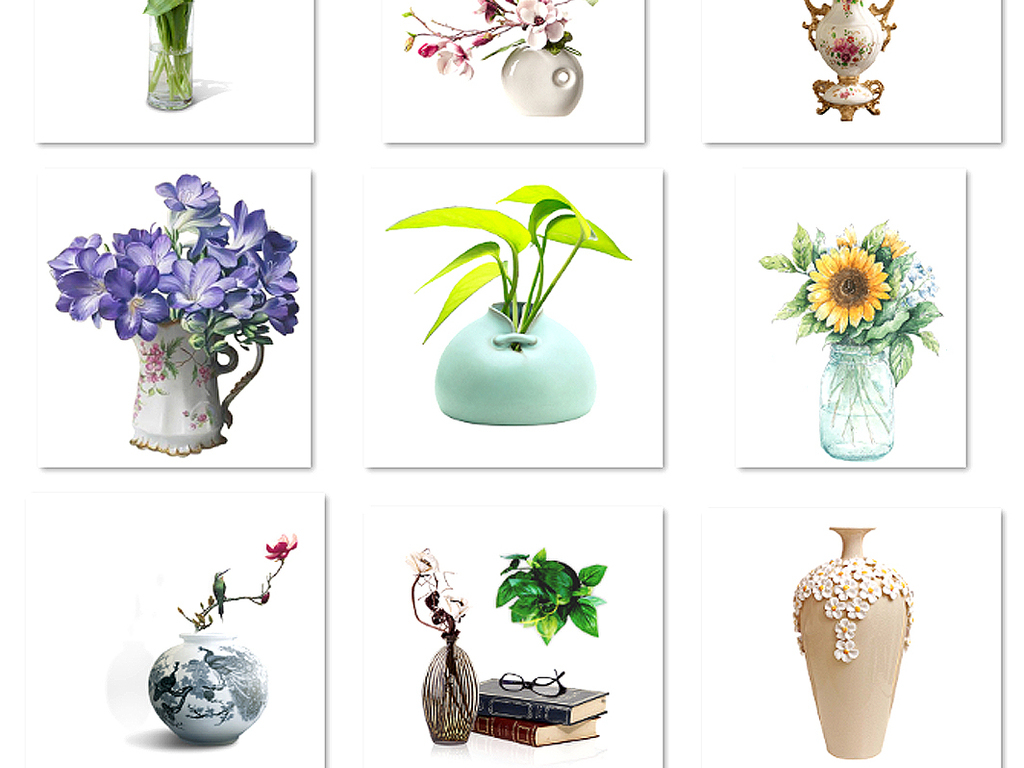 唯美手绘花卉花瓶插花花环婚礼设计素材3