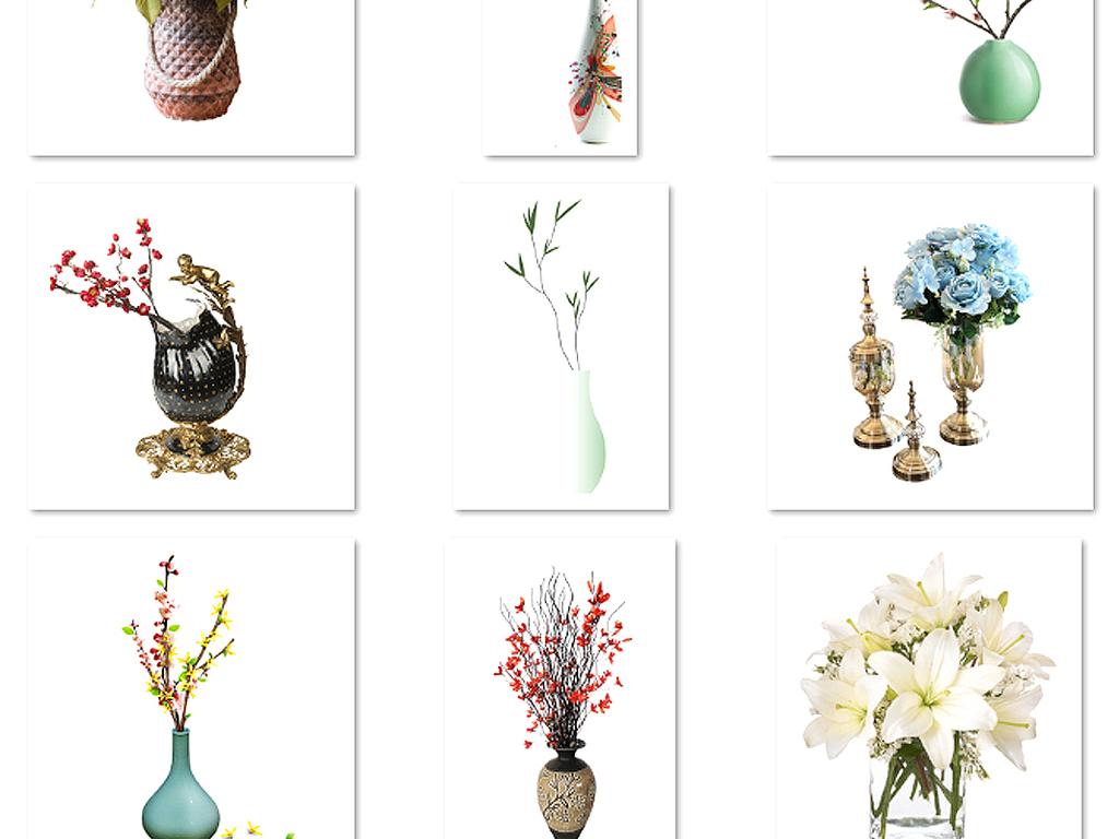 唯美手绘花卉花瓶插花花环婚礼设计素材6