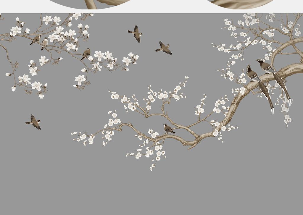 中式清新喜上眉梢工笔花鸟手绘图片设计素材_高清psd