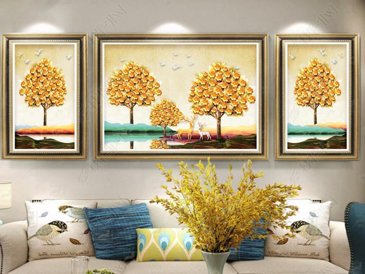 欧式复古风景山水金色发财树抽象北欧装饰画