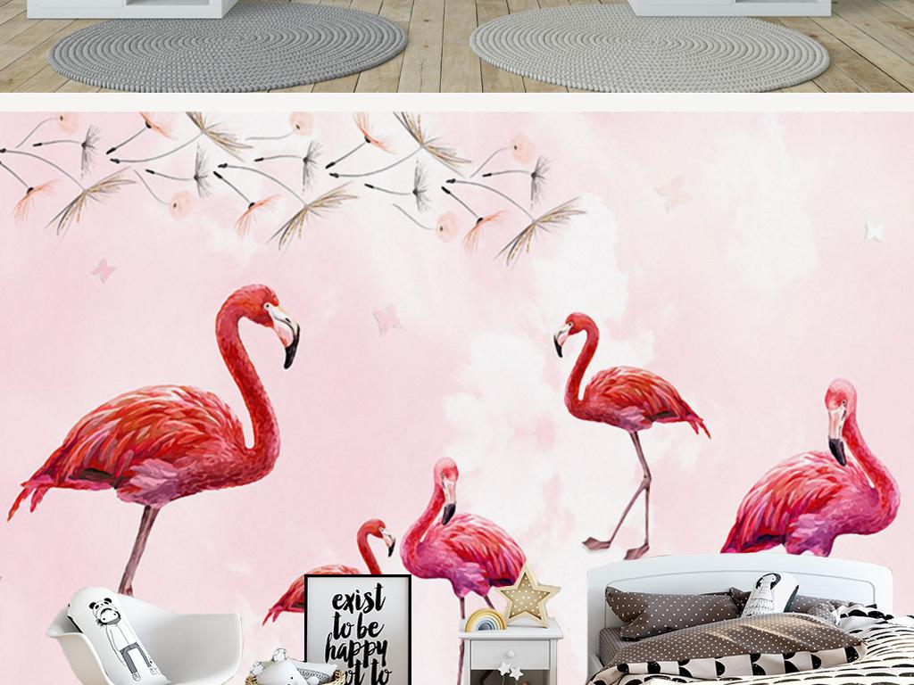 北欧手绘蒲公英火烈鸟壁画背景墙