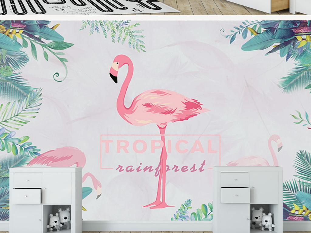 新中式手绘芭蕉叶火烈鸟壁画背景墙