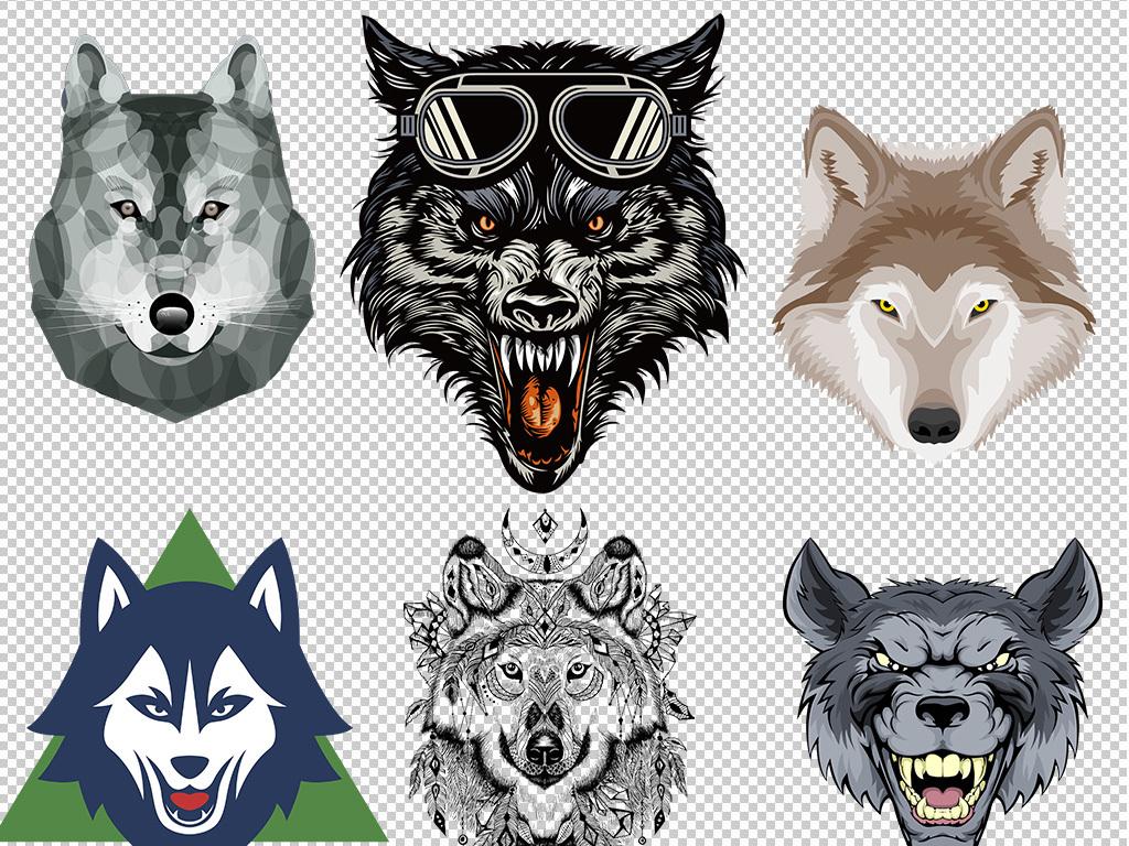 狼头标志手绘狼头透明免抠png