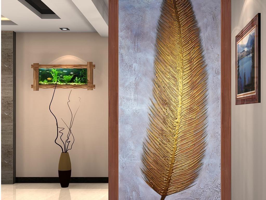 背景墙 玄关 油画|立体油画玄关 > 高清手绘金色羽毛油画玄关图  素材