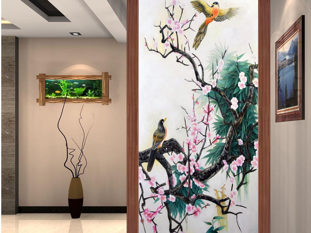 手绘高清立体3d梅花喜鹊花开富贵油画玄关