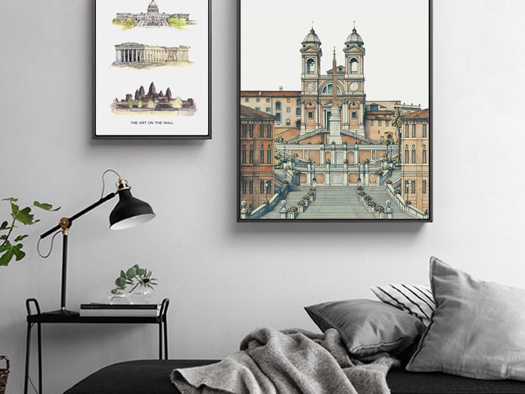 装饰画 美式装饰画 复古装饰画 > 现代手绘欧洲建筑客厅背景装饰画