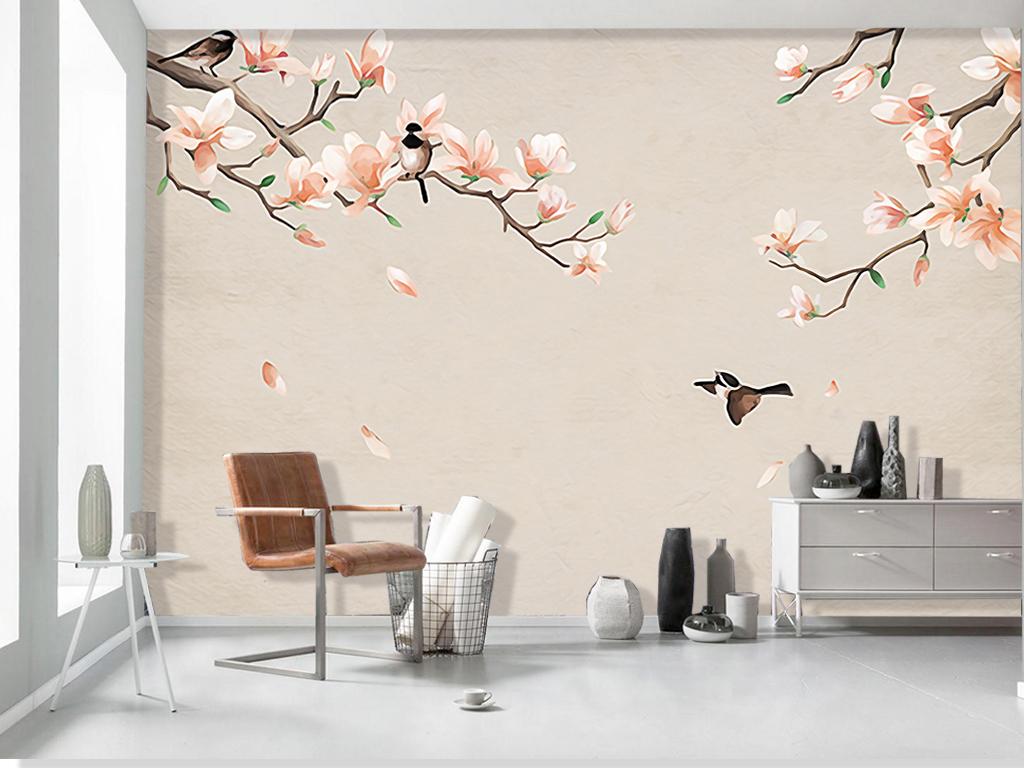 现代手绘花鸟浪漫玉兰客厅电视背景墙