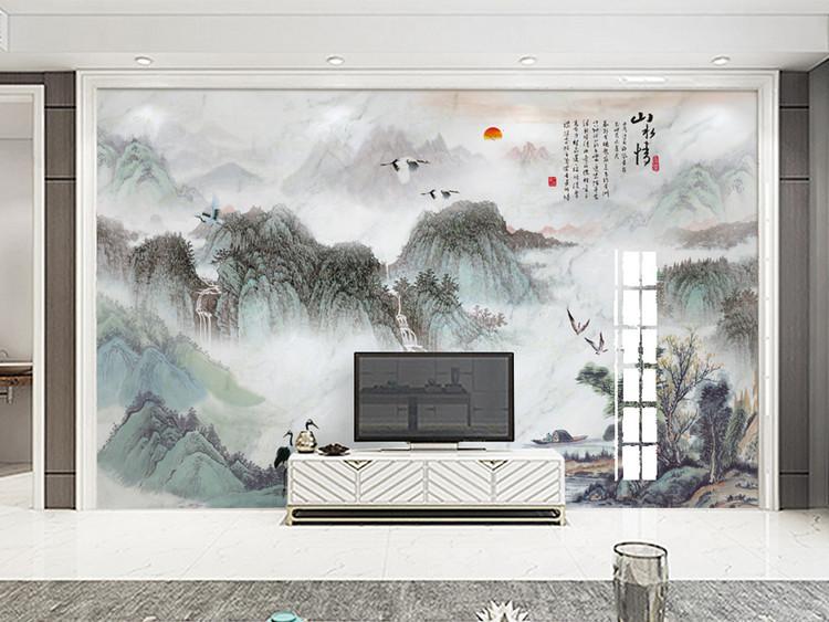 大理石纹中式山水瀑布电视背景装饰画山水情