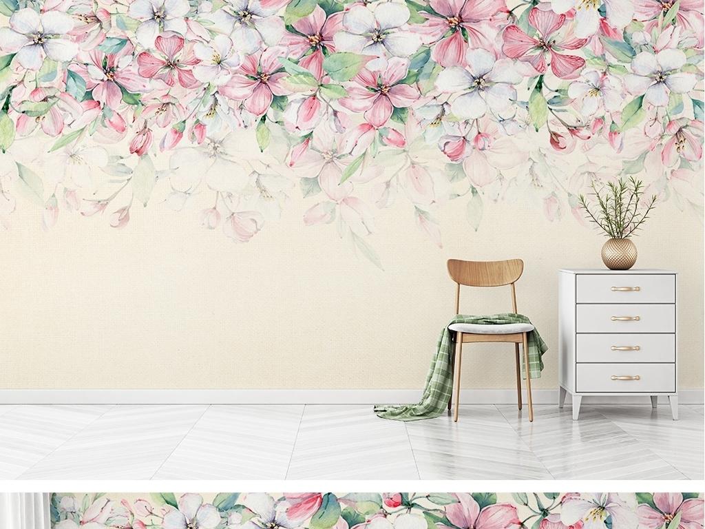 浪漫田园风水彩花卉绿叶手绘背景墙壁纸