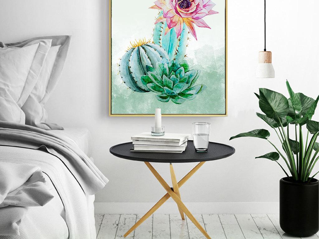 手绘仙人球热带树叶装饰画图片设计素材_高清模板下载
