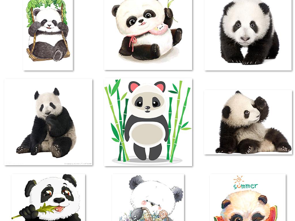 可爱卡通手绘熊猫png透明免扣素材