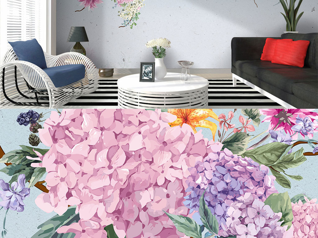 背景墙|装饰画 电视背景墙 手绘电视背景墙 > 北欧简约复古粉色绣球花
