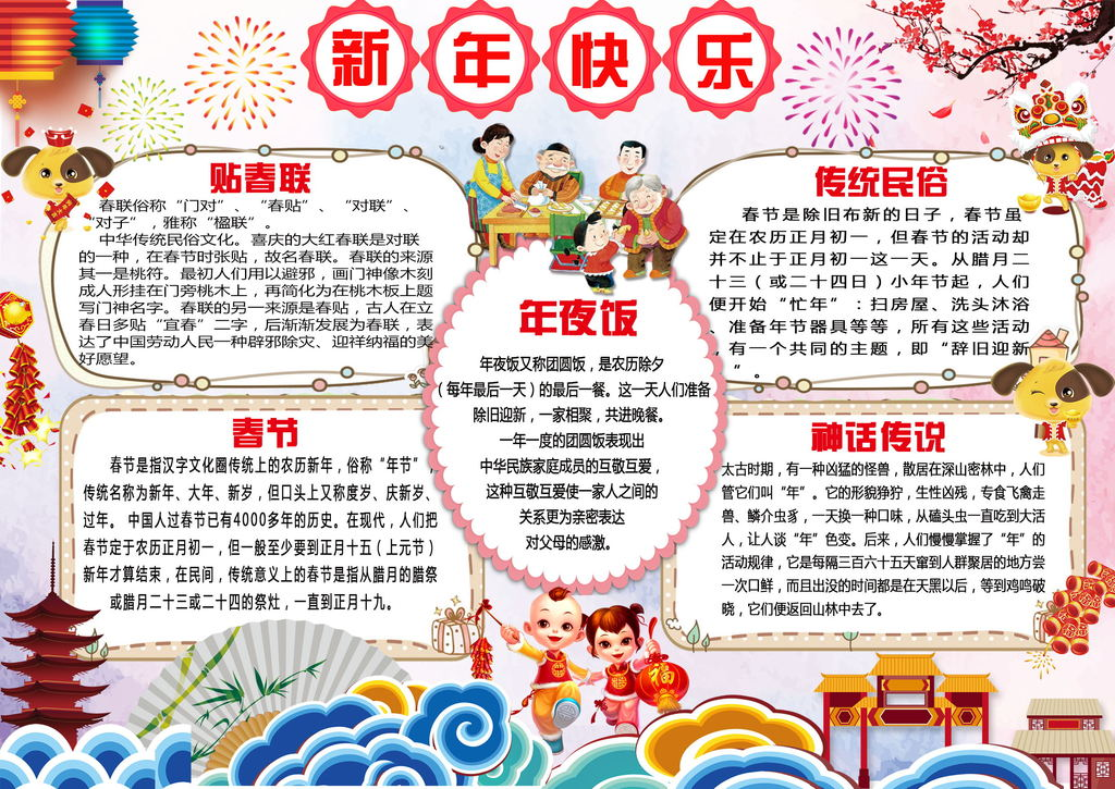 手抄报|小报 节日手抄报 春节|元旦手抄报 > 2018元旦春节小报新年