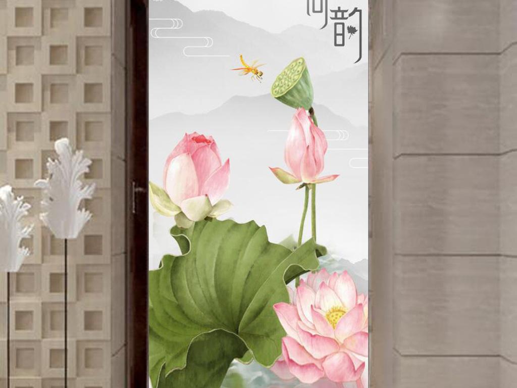 新中式水墨荷花荷韵玄关背景墙