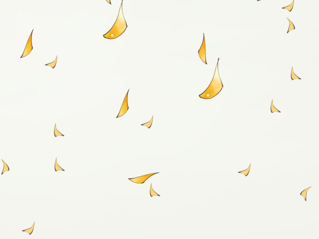手绘高清金色银杏落叶北欧小清新背景墙