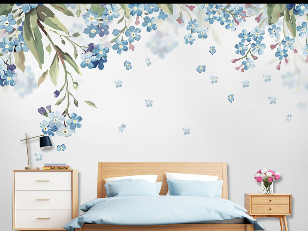 北欧小清新植物花卉手绘背景墙