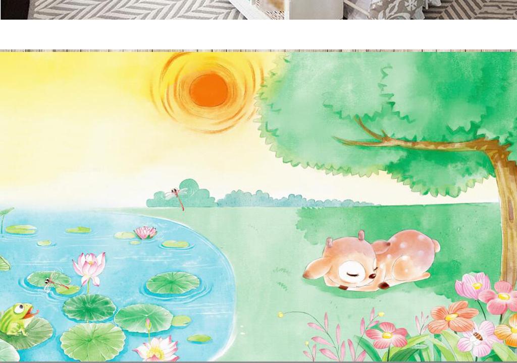 手绘卡通森林小鹿风景儿童房背景墙