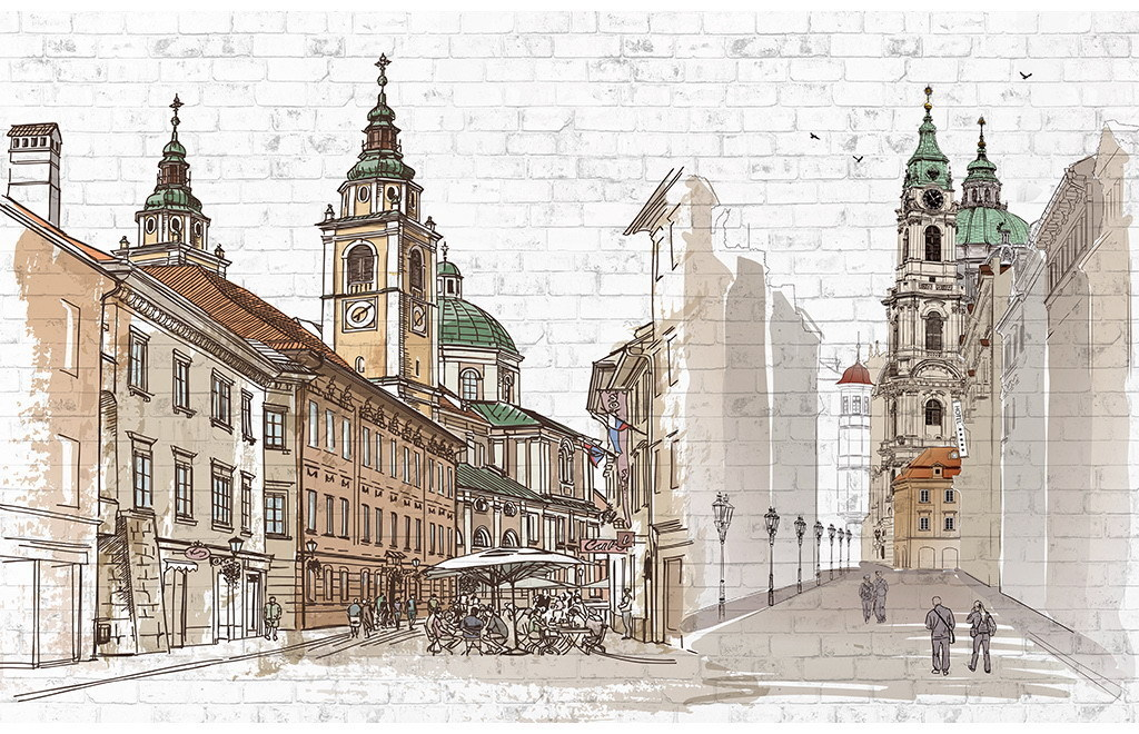 手绘欧洲城市北欧背景墙背景画