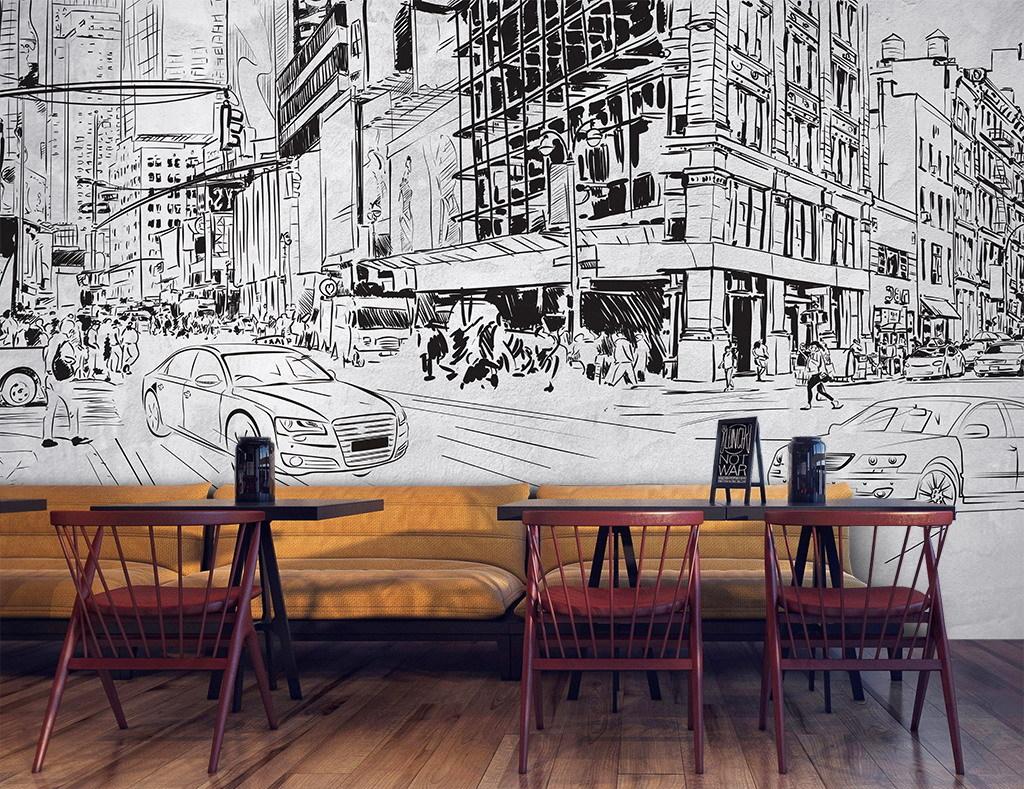 手绘城市街景高楼背景墙装饰画图片