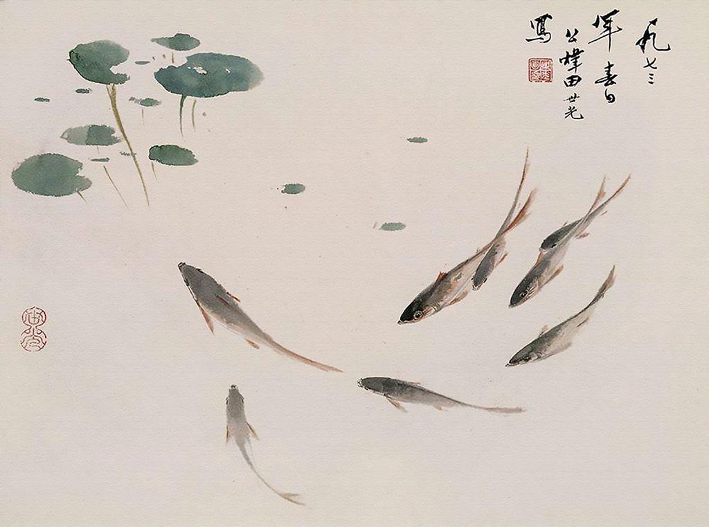 国画鱼_新中式写意国画鱼戏图无框画装饰画