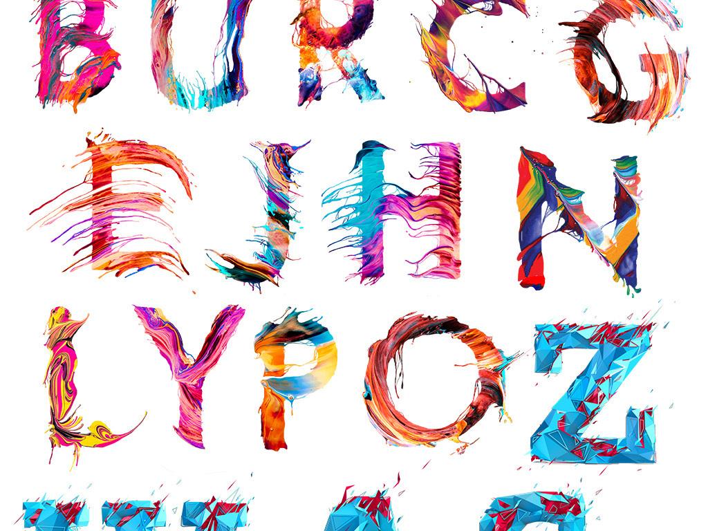 艺术创意抽象炫彩英文字母图案设计透明素材图片