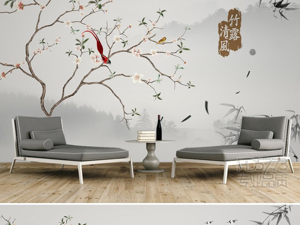 清新新中式手绘花鸟水沙发电视背景墙