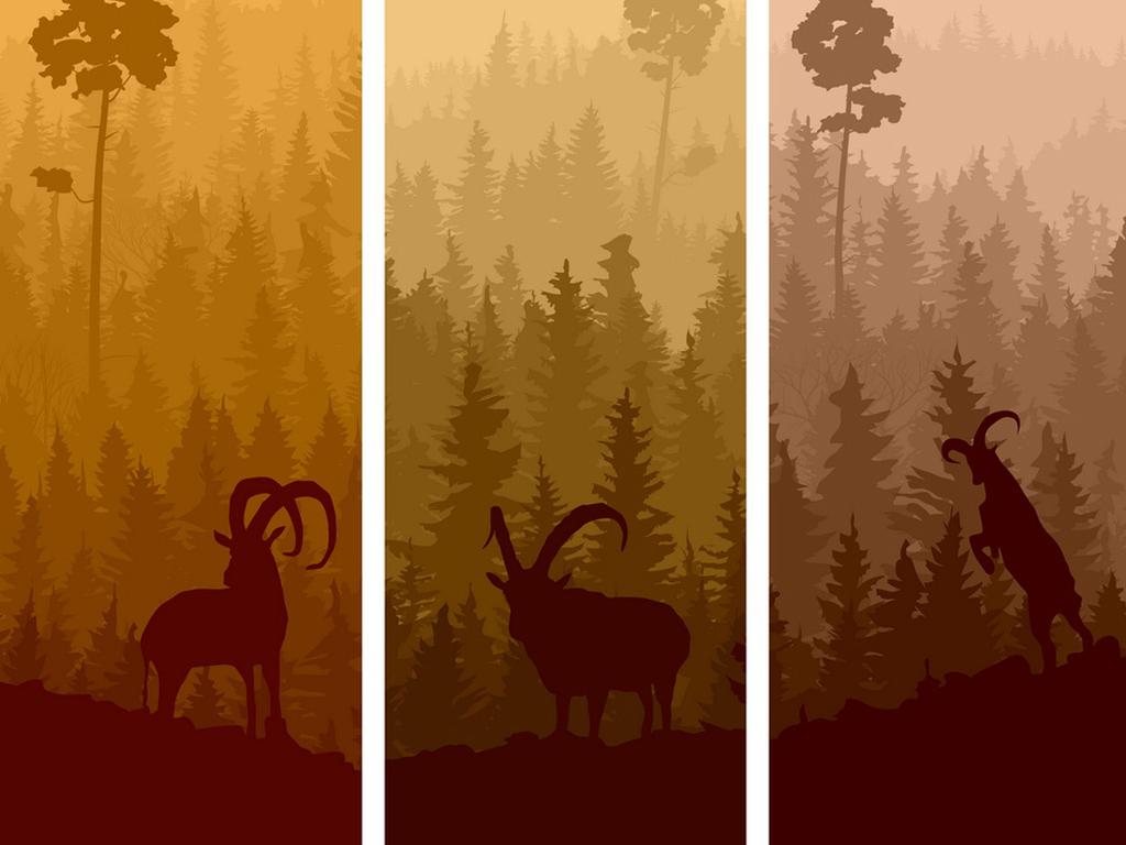 北欧麋鹿暮色森林风景装饰画矢量背景