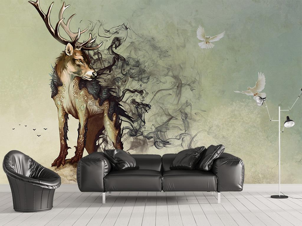 欧式3d立体创意手绘麋鹿烟雾飞鸽背景墙