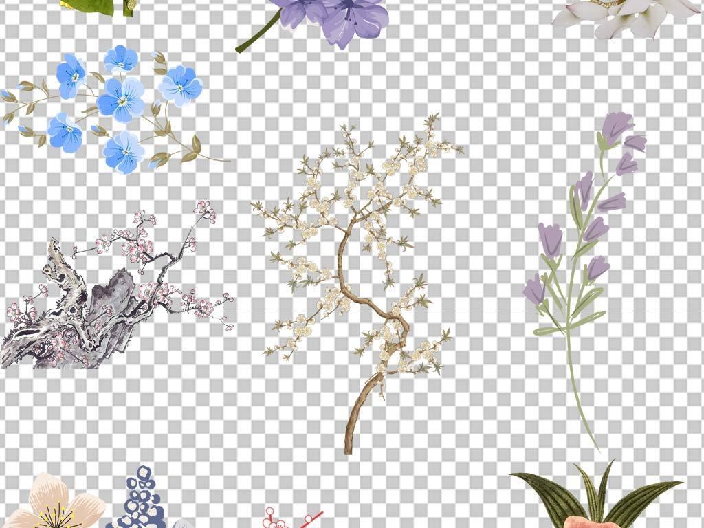 唯美彩色手绘花花束手捧花背景png设计