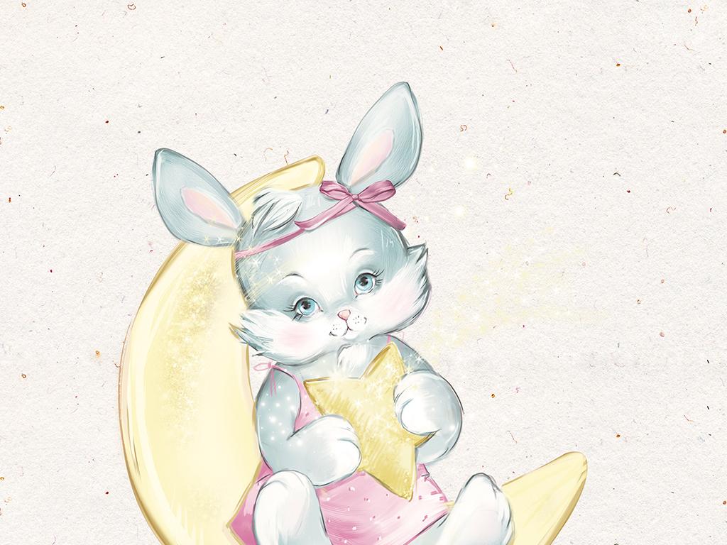 新中式森系手绘小动物装饰画三联画