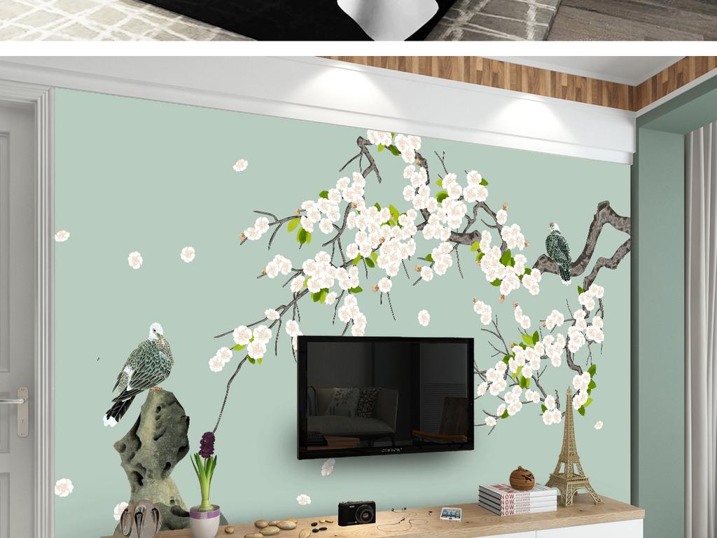 背景墙 电视背景墙 中式电视背景墙 > 梨花新中式手绘工笔花鸟背景墙