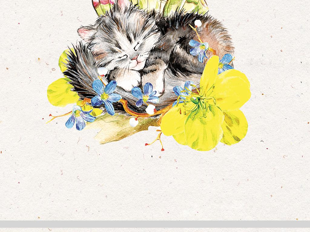 三款现代简约森系手绘小动物猫装饰画